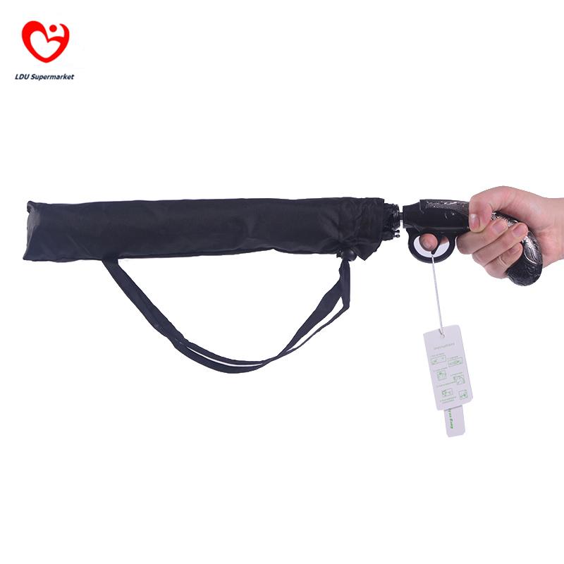 Novelty Umbrella For Sale Creative Short Gun Shaped Semi Automatic 3 Folding Men Personalized Large Clear Rain Umbrella Paraguas(China (Mainland))