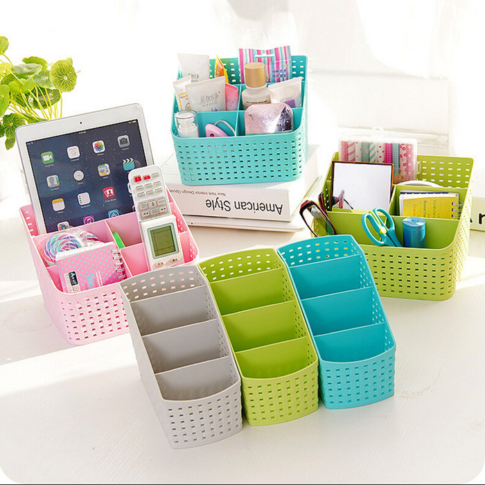Multi-grid Creative Layered Makeup Storage Box Desk Sundries Classification Plastic Organzier Storage boxes Free shipping(China (Mainland))