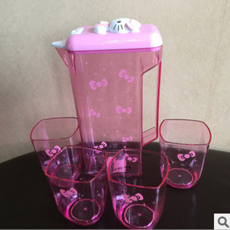 new design plastic hello kitty water bottle water mug with 4 cups for cold water tableware(China (Mainland))
