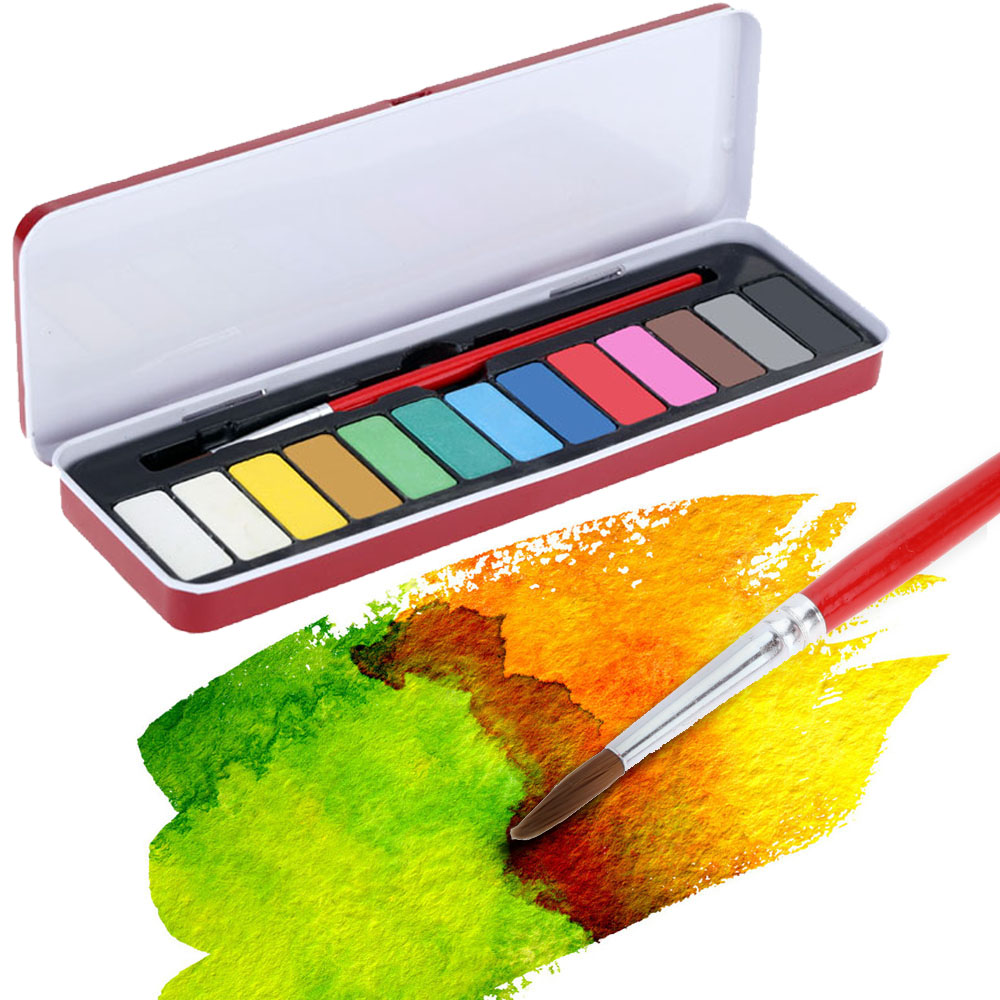 13 Colors Solid Watercolor Paint Pigments Tablet Set Gouache with 1pc Paintbrush and Box for Beginner Water Color Art Supplies(China (Mainland))