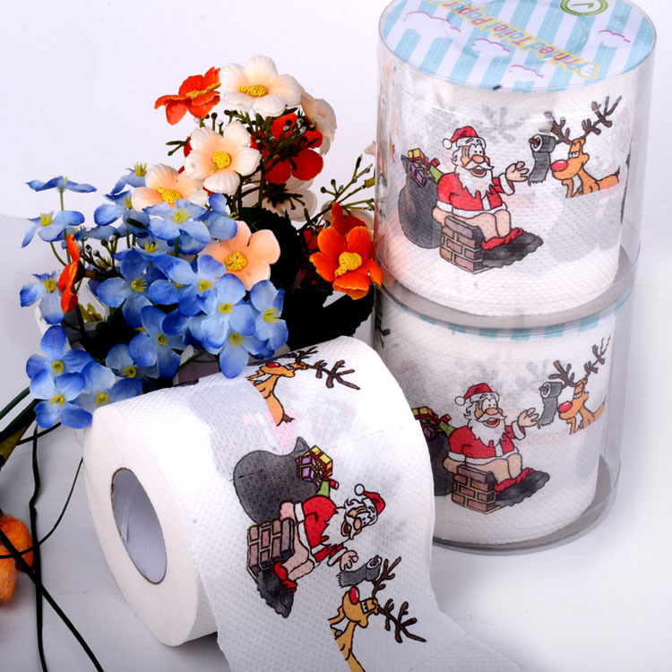 90m 3packs Christmas Toilet Paper Toilet printed Tissues Roll Toilet Paper Novelty Toilet Tissue WC Rollen Wholesale(China (Mainland))