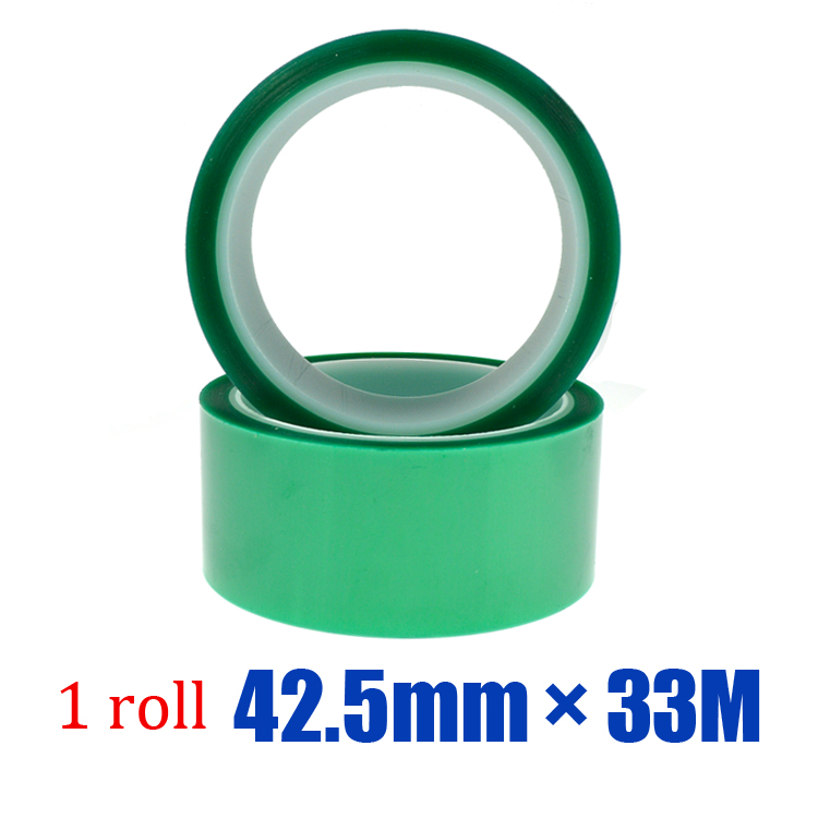 Low price Temperature green silicone PET paint spray adhesive tape for PCB Solder Masking 1 roll * 42.5mm * 33M(China (Mainland))