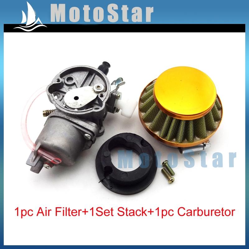 Kids ATV Gold Air Filter + Carburetor Carb + Stack For 2 Stroke 47cc 49cc Engine Parts Minimoto Mini Moto Quad 4 Wheeler Go Kart(China (Mainland))