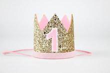 الأولى عيد ميلاد ولي بريق عيد تاج الفتيات الأولى عيد ميلاد حزب تاج واحد سنة الأميرة تاج الذهب الطفل الوردي(China)