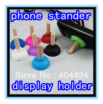 300pc/lot Excellent rubber toilet sucker stand non-slip plunger mobile phone stander / displayer holder via DHL free shipping