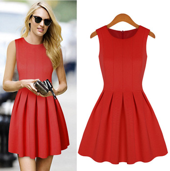 Casual Dress Color Red