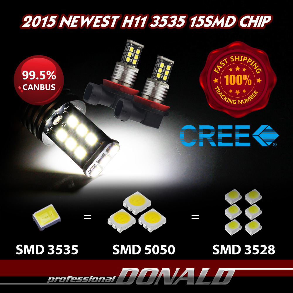 4pcs/lot H8 H11 15SMD CREE NEWEST 3535 Brighter than 5050 5730 5630 LED Auto Car White Fog DRL Daytime Running Lights Bulb Lamp(China (Mainland))
