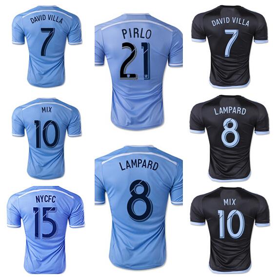 2015 2016 New York City Custom Jersey 8 Frank Lampard FC Football Shirt 21 PIRLO 7 David Villa Soccer Jersey Thailand Quality(China (Mainland))