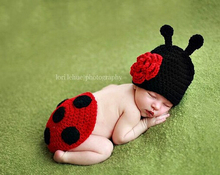 1Pce Cute Baby Infant Knitted Clothing Set Ladybug Costume Crochet Photo Props 0-12 month Newborn Photography Baby Hats Caps(China (Mainland))