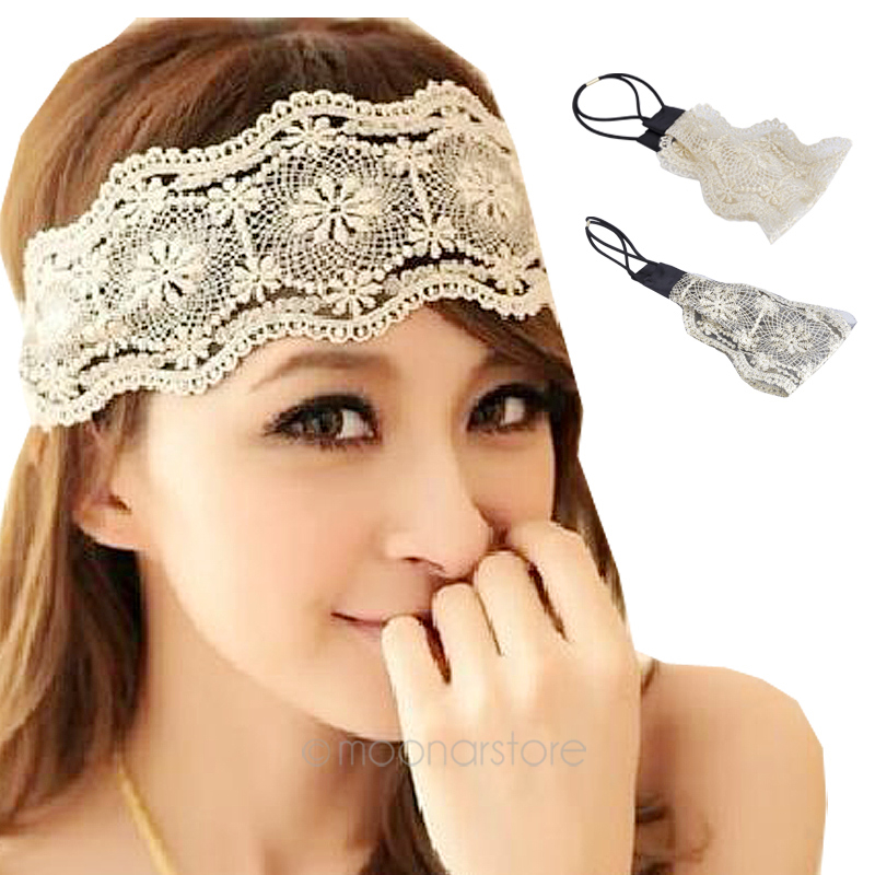 New 2016 Sexy Women Lace Flower Headbands Girls Elastic Headband Head Band Hair Accessories Headwear Headwraps(China (Mainland))