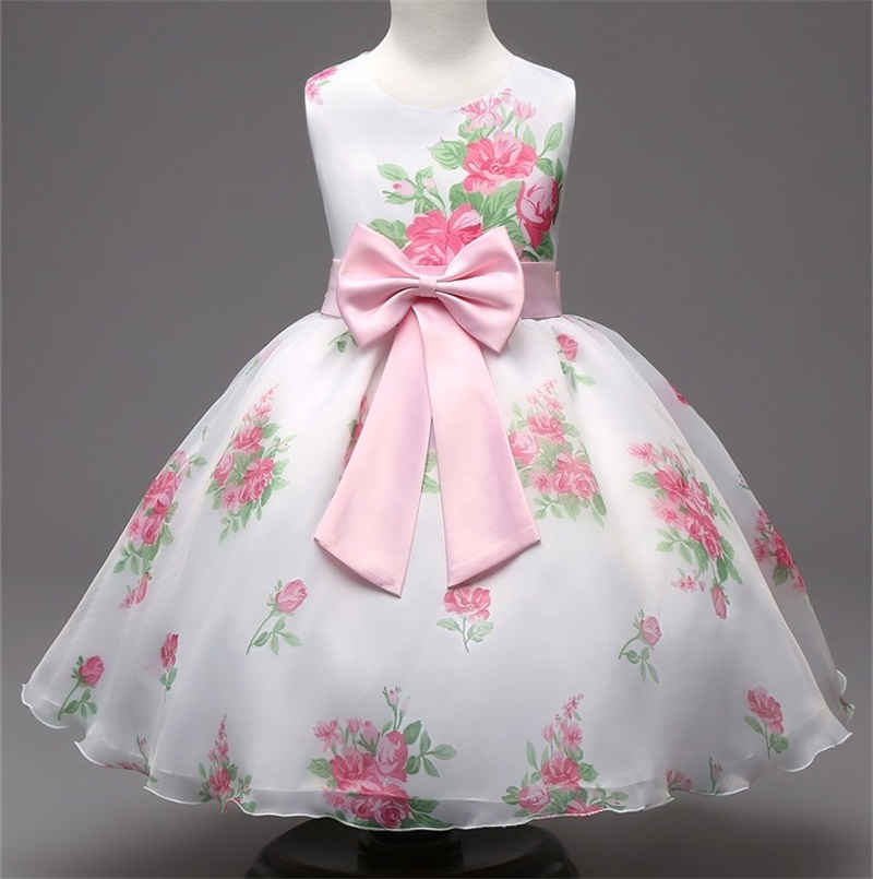 New Brand 2016 Little Girl Clothes Floral Print Princess Dress Baby Girls Birthday Party Dress Kids Clothes Size 3-8Y Vestidos(China (Mainland))