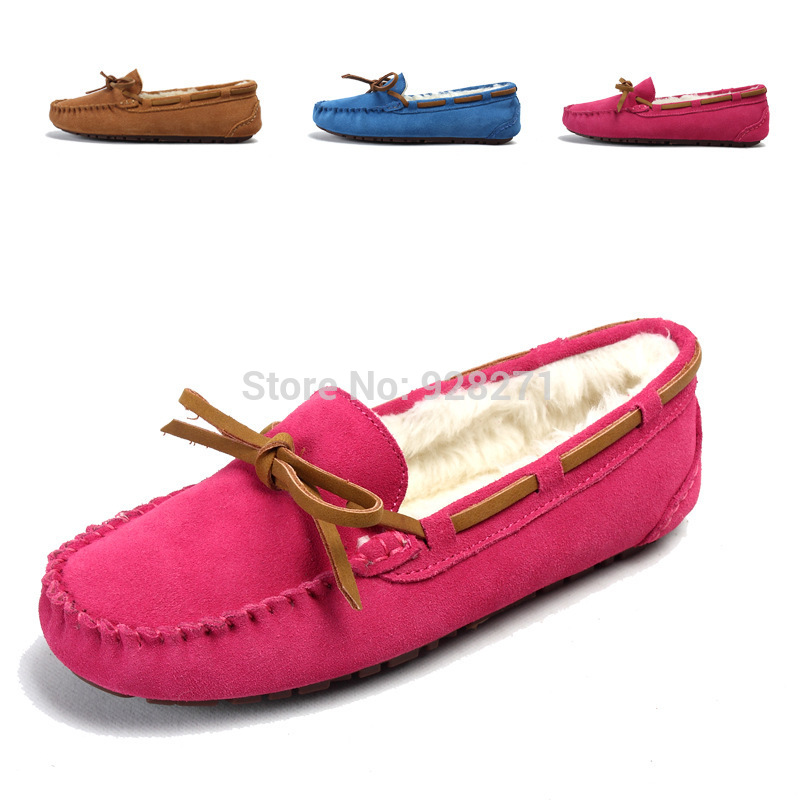 2014 New Style Winter Women Lady Genuine Leather Loafers Shoes Loafers Femininos Women Fashion ...