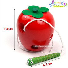 Wooden beaded toy string line wearing rope toy large apple fruit eating insects Montessori teaching aids wooden Educational Toys(China (Mainland))