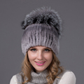 2016 new arrival hat winter real Rex rabbit fur hat with silver fox fur winter cap