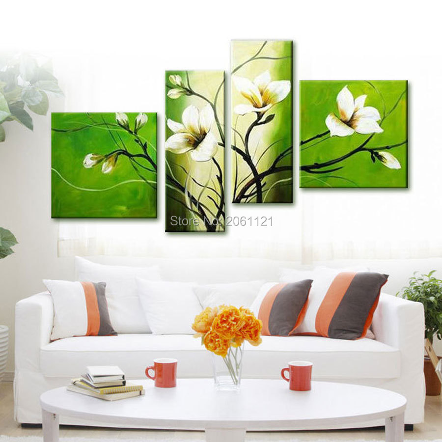 Modern Abstract Oil Painting Green Flower Wall Art Handmade Canvas Art Living Room Pictures