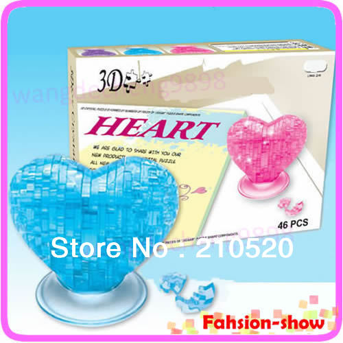 Love Heart IQ Toy Educational Toys 3D Crystal Puzzle Jigsaw Model DIY Furnish Gift Souptoy Gadget Free Shipping(China (Mainland))