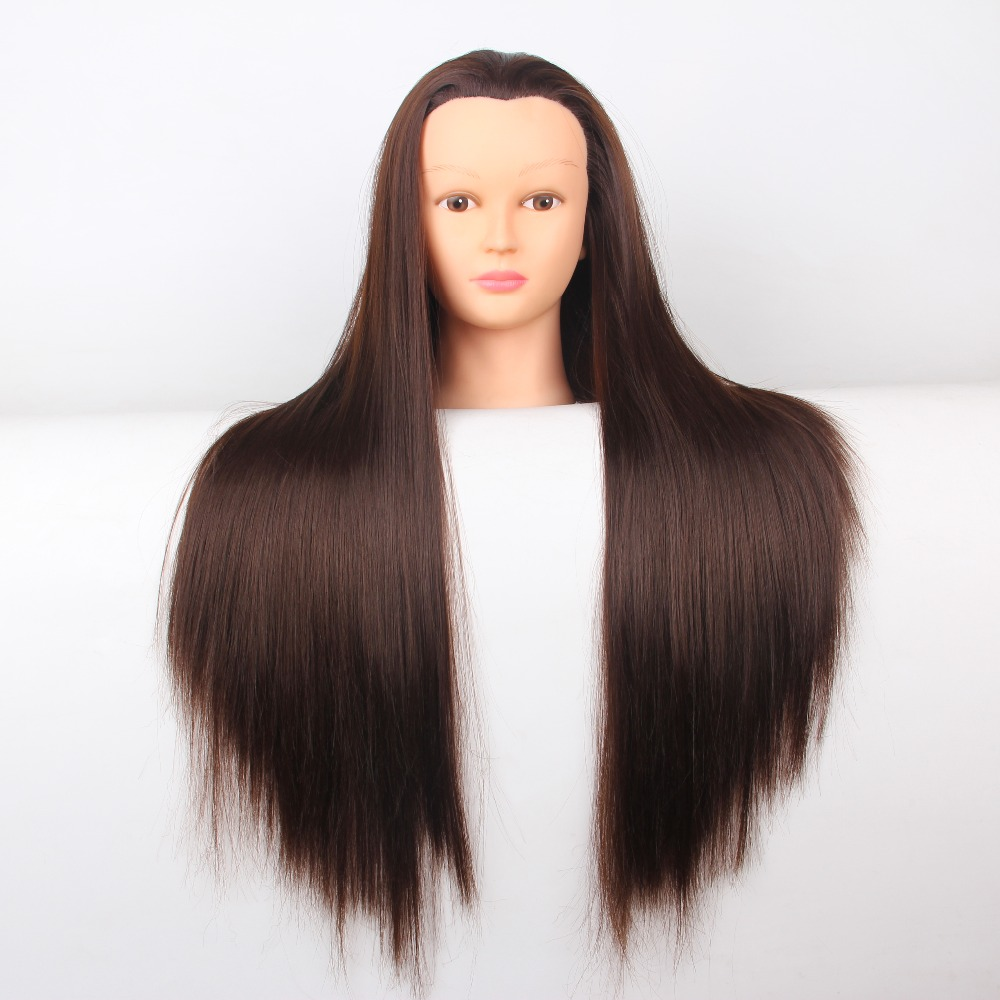 "Hight Quality Free Shipping24""Straight Hair Training Head Mannequin Head Dummy Maniquies Women Cosmetology Mannequin Hairdresser(China (Mainland))"