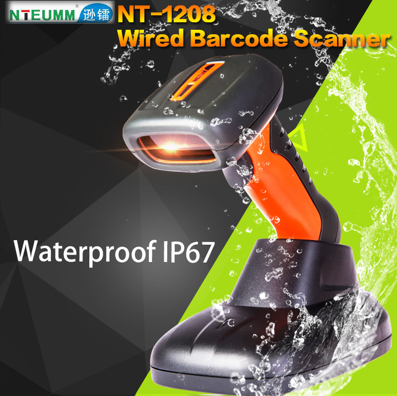 Free Shipping!NTEUM NT-1208 Laser Wired Barcode Scanner USB Waterproof Barcode Reader Portable Handy 1D Barcode Scanner W/Stand(China (Mainland))