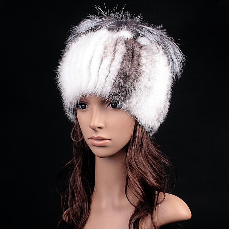 Women's Genuine Real Mink Fur Skullies Beanies Hats Female Winter Fox Fur Caps Fashion Ear Protector Headgear VK3068(China (Mainland))