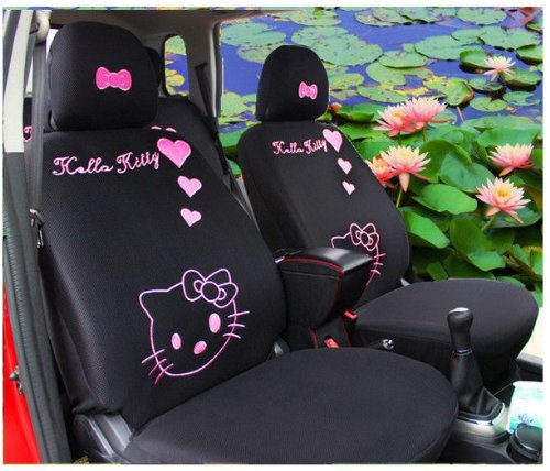 10pcs black cartoon cat hello kitty car cushion front driver saddle seat covers hellokitty car. Black Bedroom Furniture Sets. Home Design Ideas