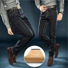 Plus Size Mens Fleeces Lined Dress Denim Jeans Pants Black Blue Autumn Winter Formal Stretch Thick Jeans Men Size 36 38 40 42(China (Mainland))