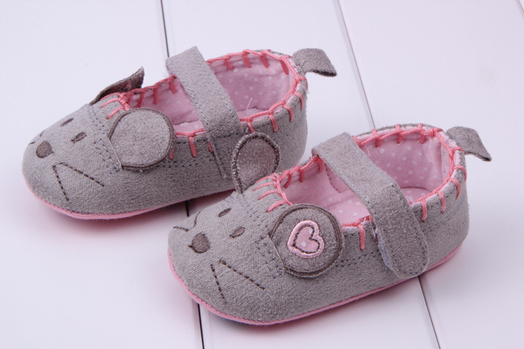 Lovely Toddler Baby Little Mouse Crib Shoes Boy Girls Casual Prewalk Shoes 0 12M