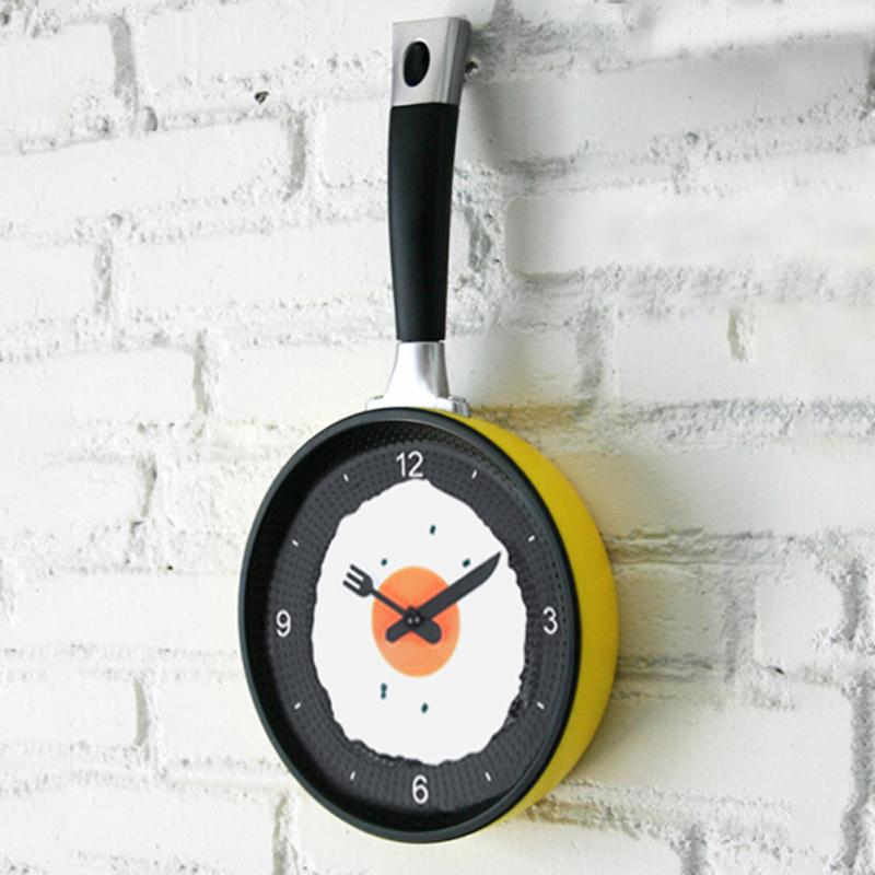 New Kids Wall CLock Creative Omelette Fry Pan Kitchen Fried Egg MINI Design Children Wall Clocks Kitchen Clock 3 Colors(China (Mainland))