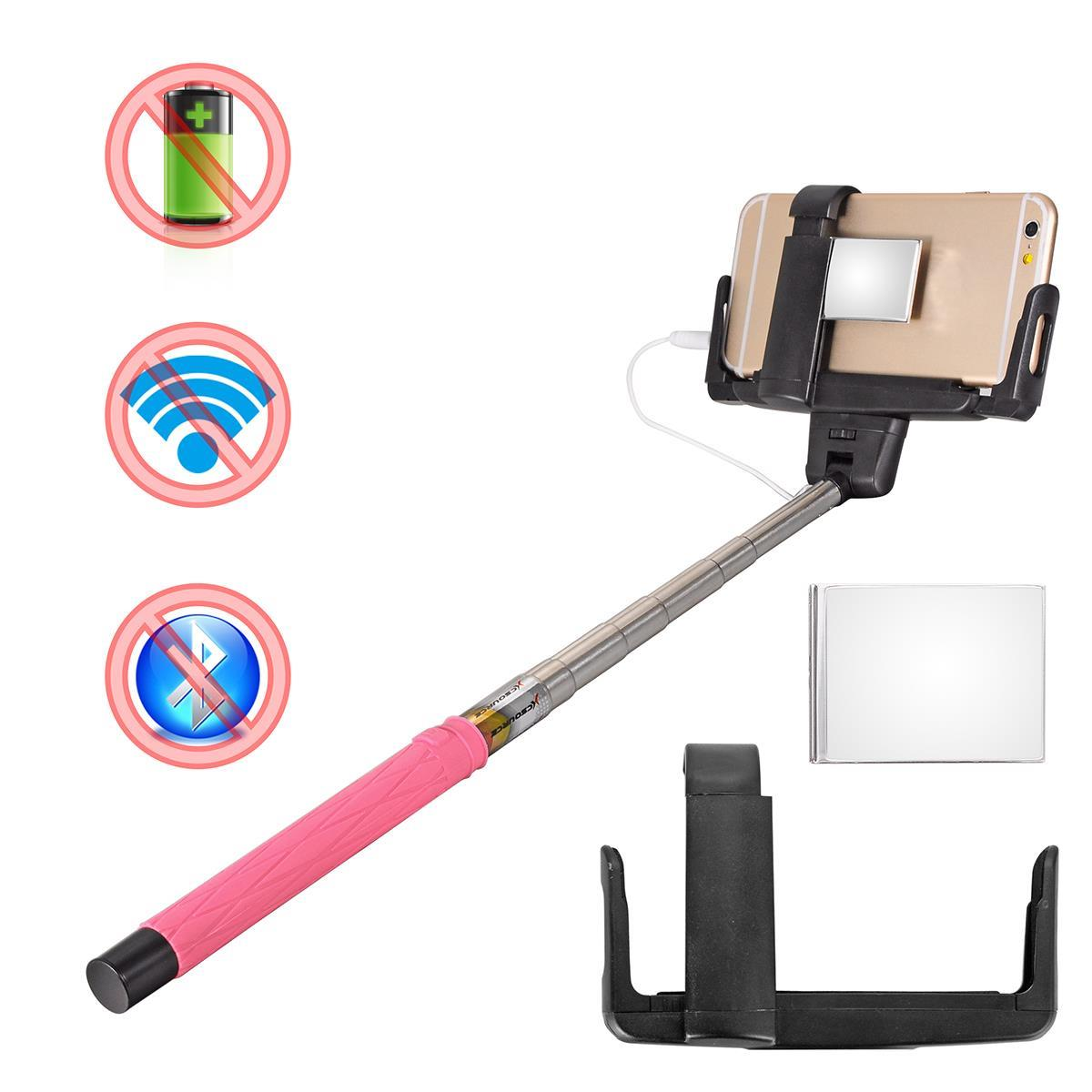 Xcsource Rose Red Flexible Pipe Extendable Handheld Wired Control+Mirror For Samsung for iphone for gopro XC217<br><br>Aliexpress