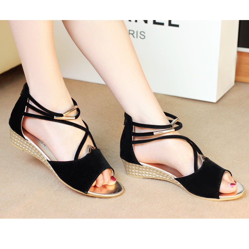 2014 sandals bohemia candy color casual small wedges female open toe shoes - Guanlongkeji store