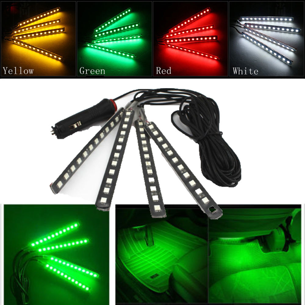 White/Red/Yellow/Green 12V Car Interior LED Light Decoration Atmosphere Lamp With Cigarette Lighter Floor Lighting Strips Neon(China (Mainland))
