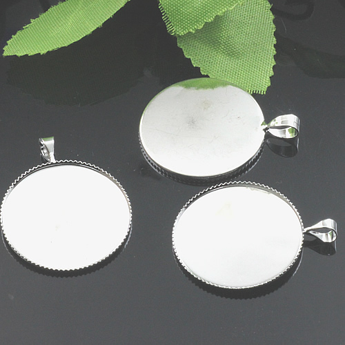 "50pcs Inner 25mm Large Circle Round Pendant Tray, Pendant Blanks Bezel Setting 25 mm 1"" Diameter(China (Mainland))"