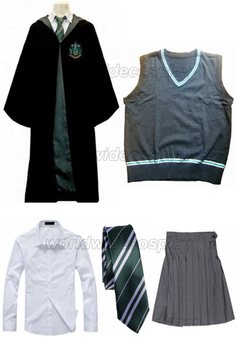 Free Shipping Harry Potter Slytherin Cosplay Robe Vest Shirt Skirt Custom madeОдежда и ак�е��уары<br><br><br>Aliexpress