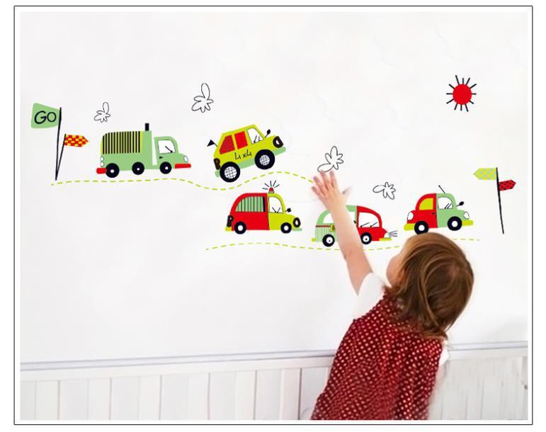 Cartoon car wall sticker boys room decal home decor wall art zooyoo7012 diy kids room wall decals mural accessories 50*70(China (Mainland))