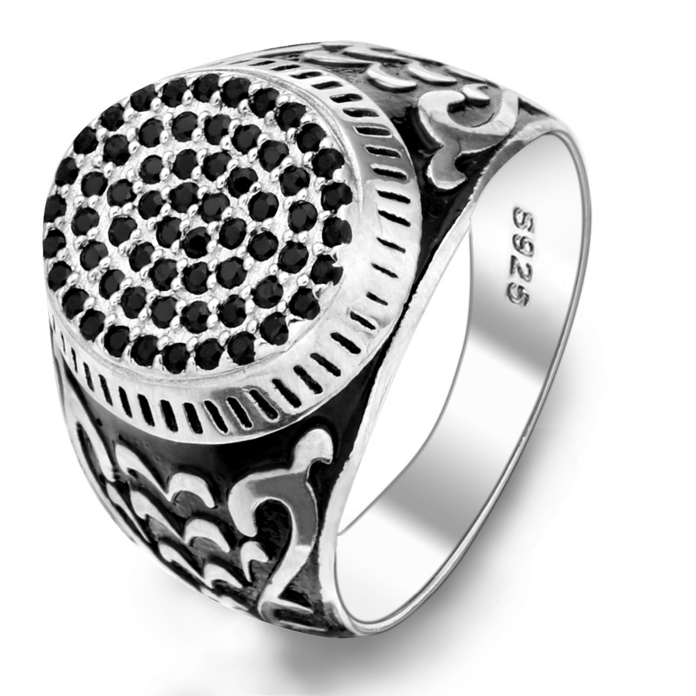 BELLA Fashion Men 925 Sterling Silver Black Oval Shape All Gems Ring Size 10/11 Silver Plated Cubic Zircon Ring For Party Daily(China (Mainland))
