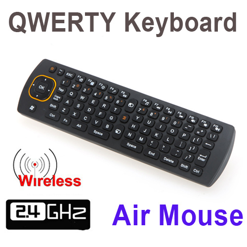 5pcs/lot 2.4G Wireless 6D Gyroscope Fly Air Mouse 360 Rotating QWERTY Keyboard Remote Controller For Android Smart TV BOX PC(China (Mainland))