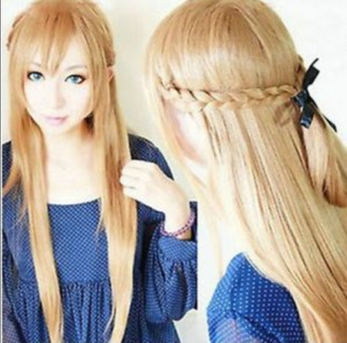 >>>Hot ! Sword Art Online Asuna Yuuki light golden brown knit 80CM long cosplay wig