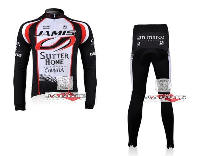 Winter clothes! 2010 JAMIS team Winter long sleeve cycling jerseys+pants bike bicycle thermal fleeced wear set+Plush fabric!(China (Mainland))