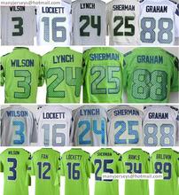 Best 3 Russell Wilson 16 Tyler Lockett 24 Marshawn Lynch Mens #25 Richard Sherman 88 Jimmy Graham New Green White Gray(China (Mainland))