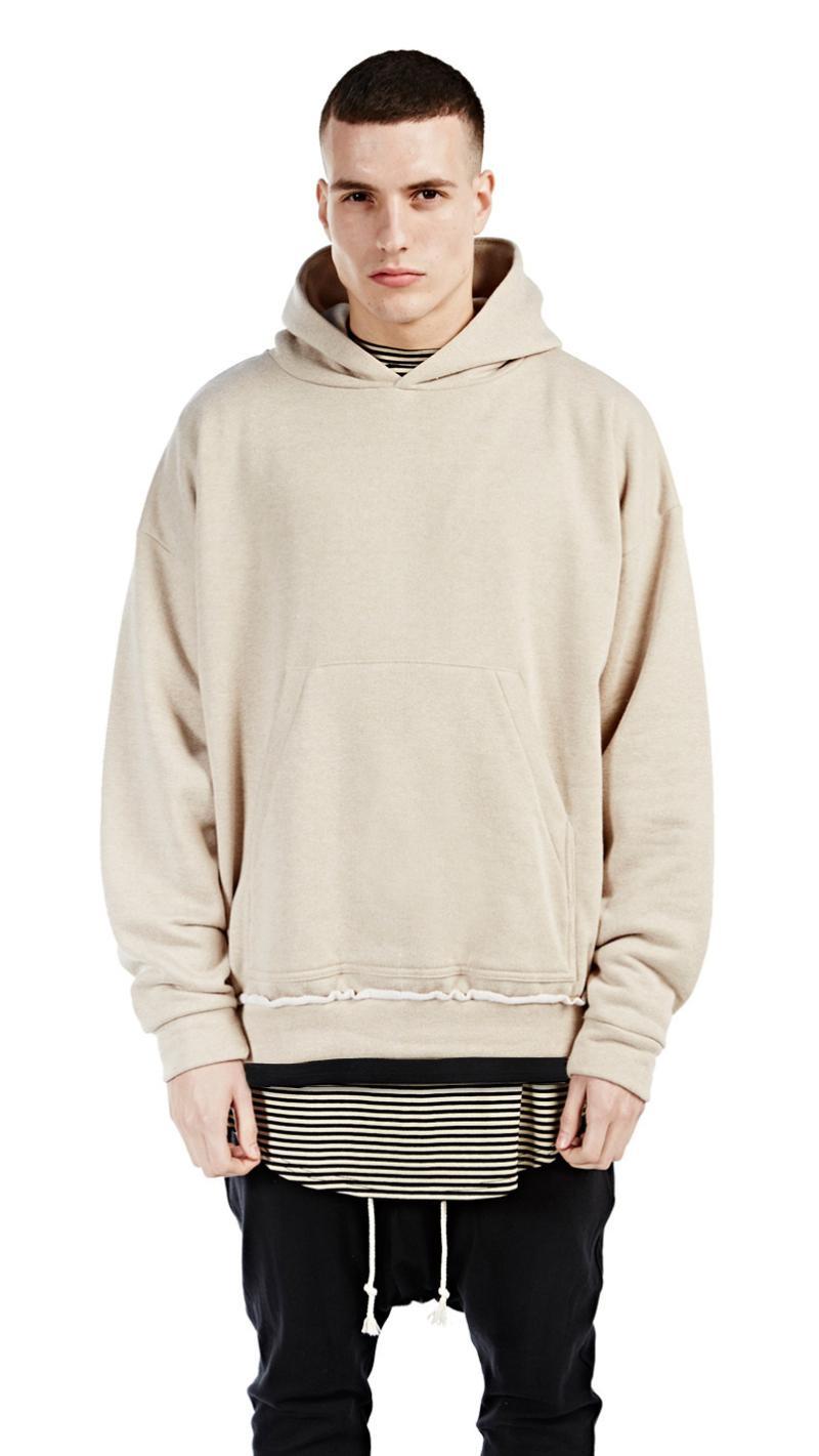 men loose baggy khaki beige hoodies casual streetwear ...