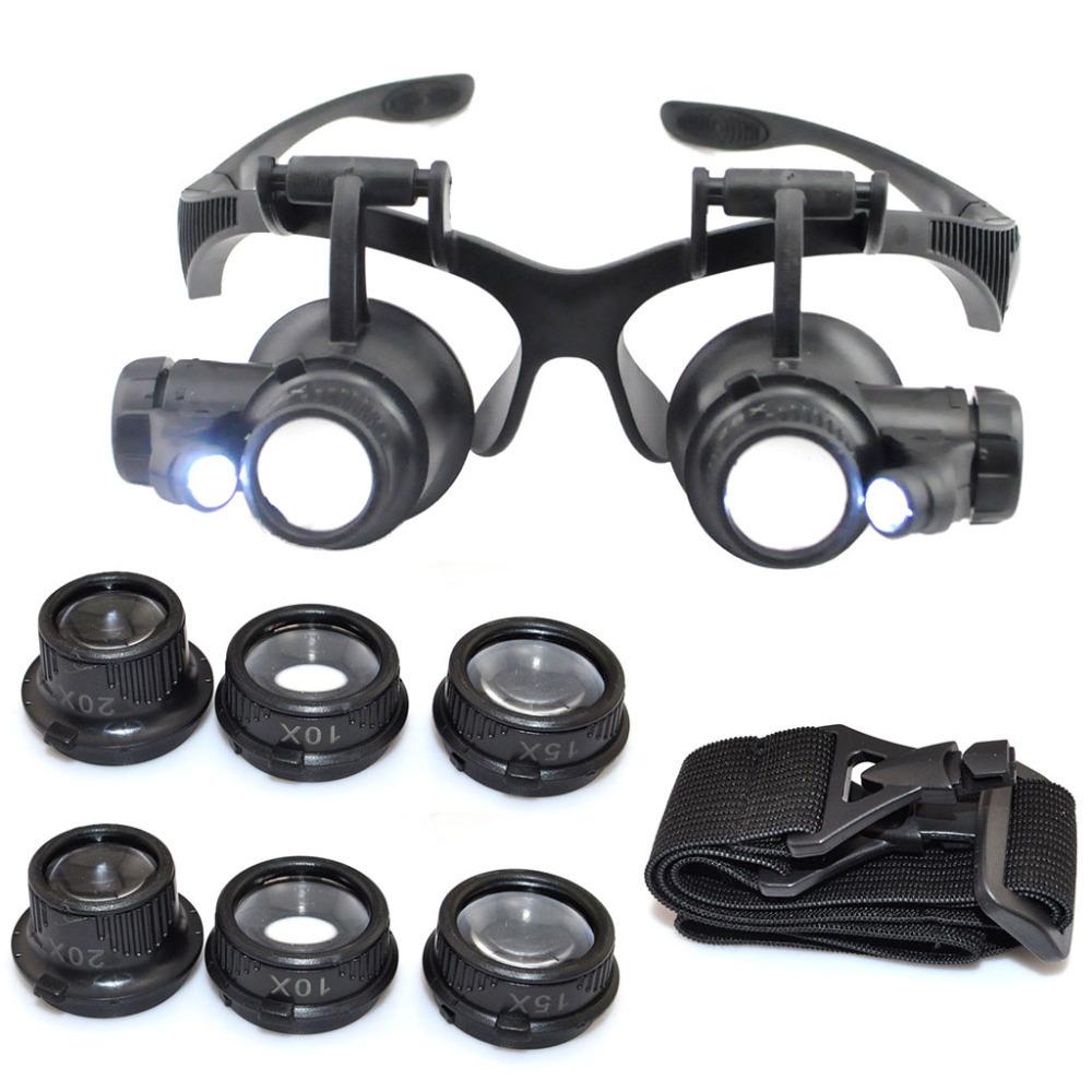 10X 15X 20X 25X LED Illuminated Double Eye Jeweler Watch ...