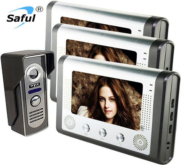 2015 Saful Brand Newest Wired 7 inch Color Video Door Phone Intercom System 3  indoor Monitors+1 Outdoor Camera IN Stock <br>