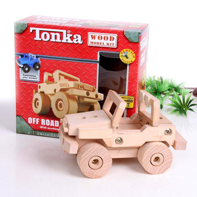 Wooden toy baby gift tonka wood car plane model kit EZBUILD system customize free shipping 1pc w(China (Mainland))