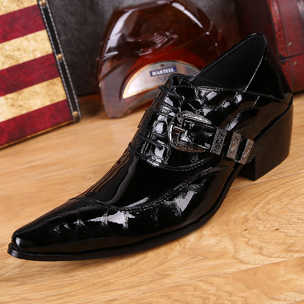 New Fashion pointed toe patent leather Shoes Classic Men Casual Business Fashion Leisure 6 cm high heels Oxford Leather Shoes<br><br>Aliexpress