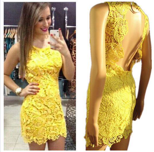 Vestidos de festa amarelo com renda curto