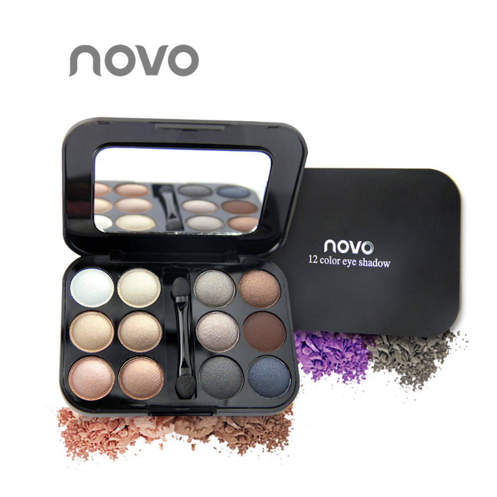 Brand New 12 Colors Eye shadow Makeup Palette High Quality Powder Smoky eyes Metal Naked Nude EyeShadow Cosmetics brush & mirror(China (Mainland))