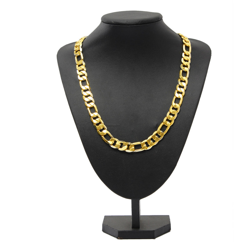 2015 New Arrival Hot Sale Heavy 12mm 18k yellow gold filled mens necklace curb chain jewelry Geometry Royal(China (Mainland))