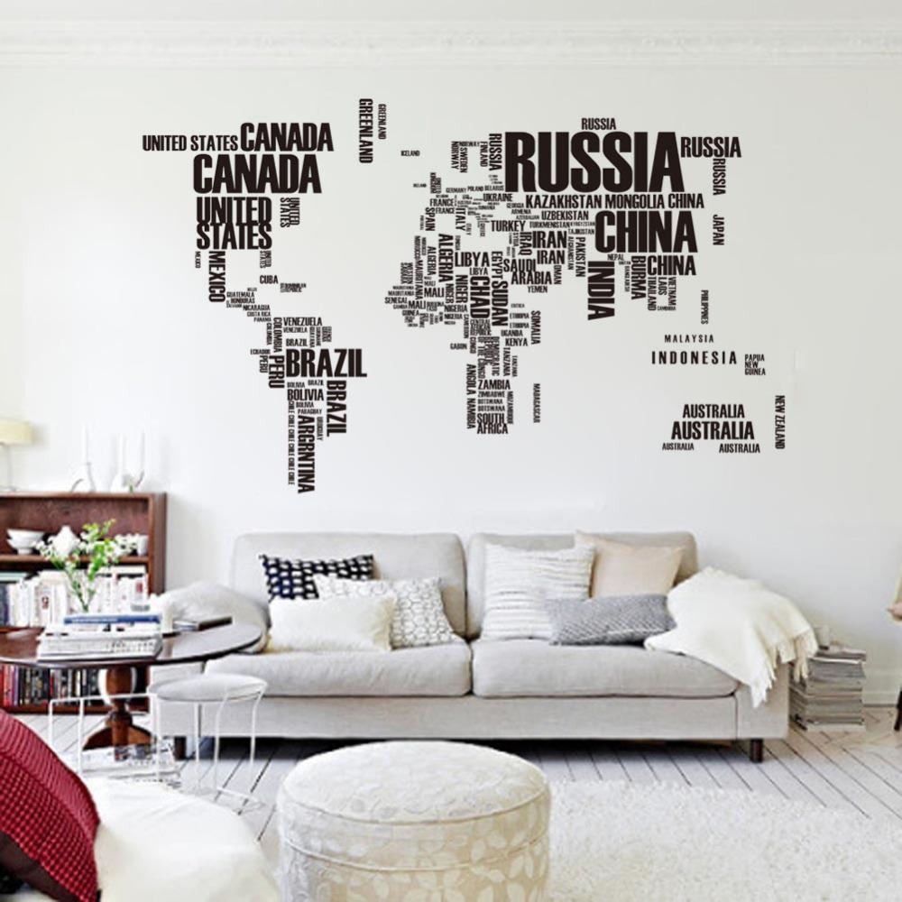 2015 Wall Decor Words Big World Map 190x116cm Office Wall Stickers Living Room Home Decoration