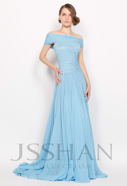 11P066 Baby Blue Chiffon Off-Shoulder Elegant Gorgeous Luxury Unique Brilliant A-Line Train Evening Dress Fancy Dress Party
