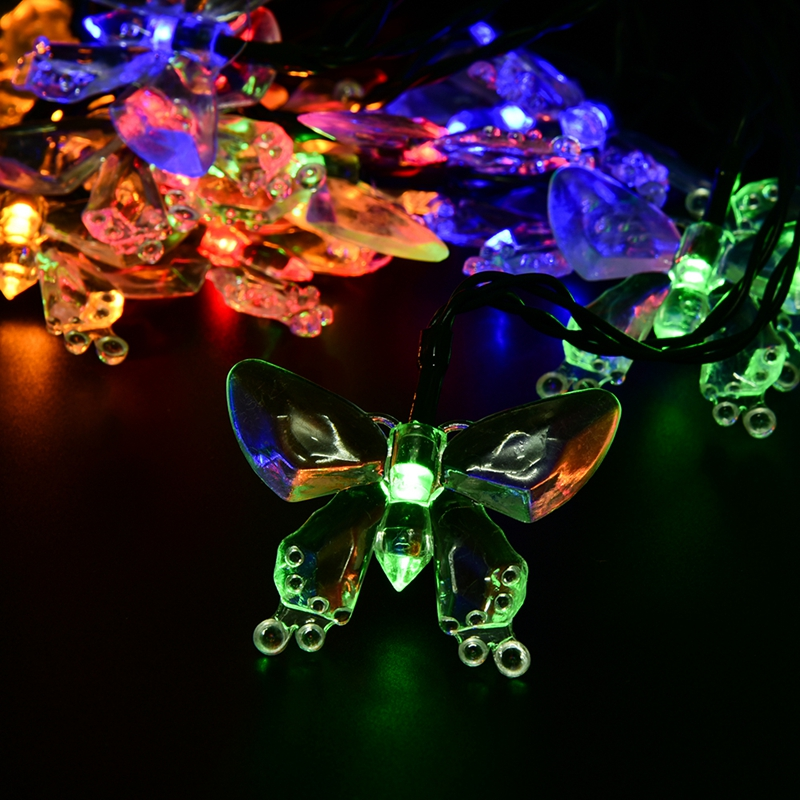 Outdoor Lighting 4.8M 20LEDs Colorful Decoration Butterfly Luz Garland Waterproof Christmas Garden Outdoor Solar Lamp LED String(China (Mainland))