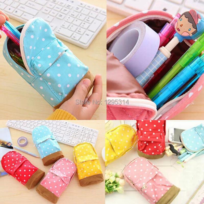 Korea Stationery Multifunctional Big Capacity Pencil Case Dot School Bag Cute Storage Bag FZ2746 tkE(China (Mainland))
